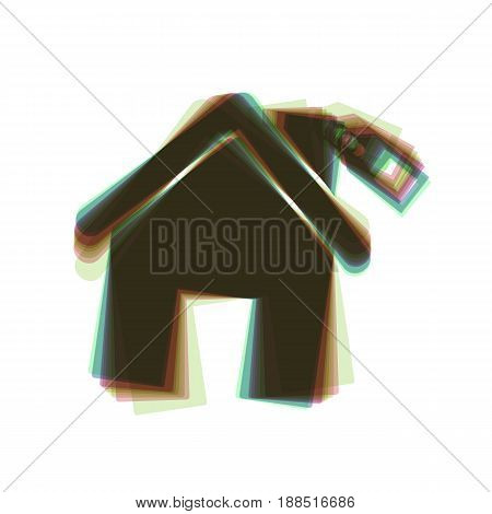 Home silhouette with tag. Vector. Colorful icon shaked with vertical axis at white background. Isolated.
