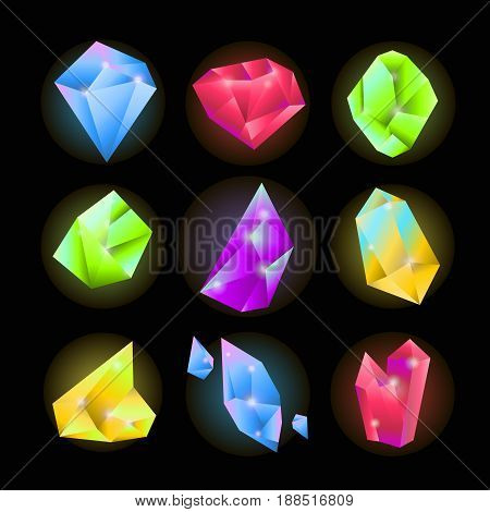 Crystals and sparkling gemstones or shining jewels and diamonds of pink ruby, blue opal and green emerald color. Vector isolated mineral stones of different forms and shapes on black background