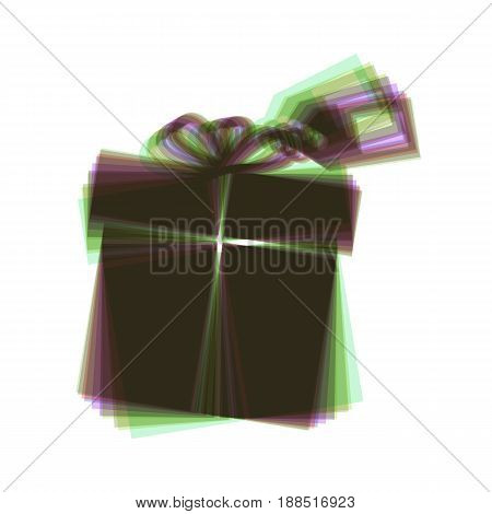 Gift sign with tag. Vector. Colorful icon shaked with vertical axis at white background. Isolated.