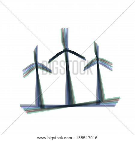 Wind turbines sign. Vector. Colorful icon shaked with vertical axis at white background. Isolated.