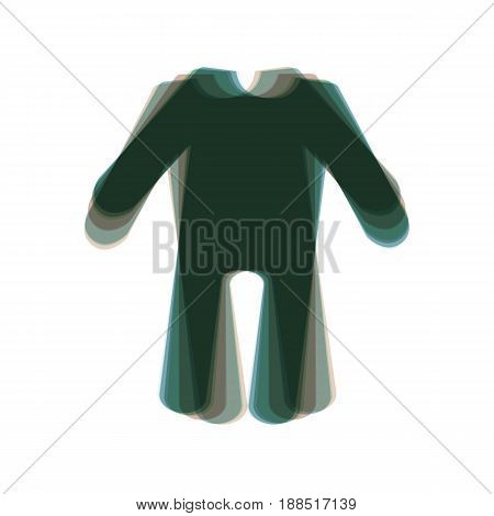baby clothes sign. Vector. Colorful icon shaked with vertical axis at white background. Isolated.