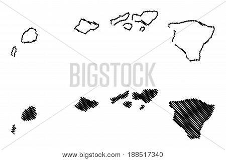 Hawaii map vector illustration , scribble sketch Hawaii
