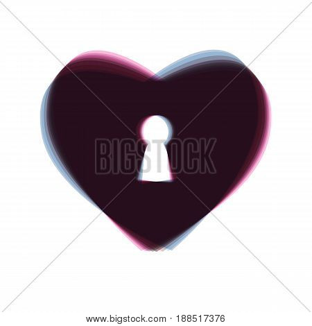 Heart with lock sign. Vector. Colorful icon shaked with vertical axis at white background. Isolated.