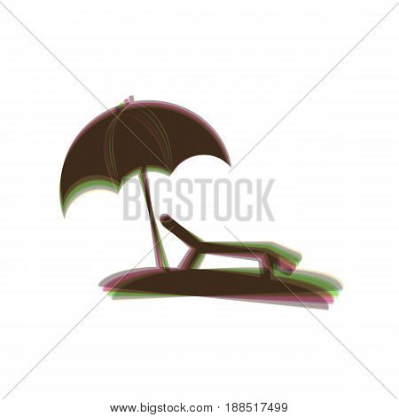 Tropical resort beach. Sunbed Chair sign. Vector. Colorful icon shaked with vertical axis at white background. Isolated.