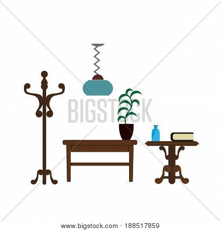 Furniture pieces of table and flower plant in flowerpot, nightstand with books, wardrobe hanger and lamp. Vector flat isolated icons of living room interior