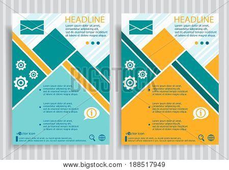 Envelope Web Symbol On Vector Brochure Flyer Design Layout Template