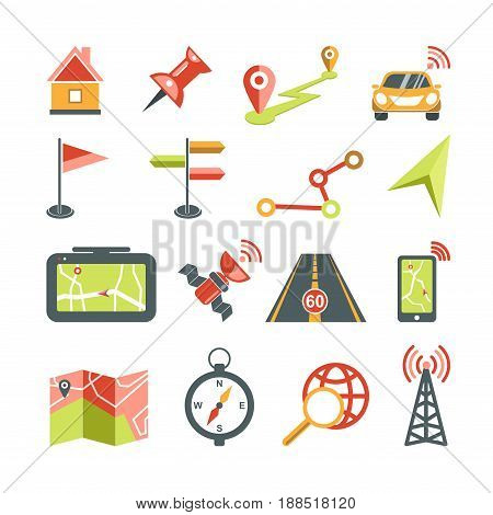Navigation vector icons set or logo template for car navigator map or mobile application interface template. Isolated symbols direction arrows, destination point pin, beacon signal and search buttons