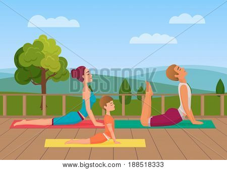 Parents with girl kid does yoga various exercises. Family yoga vector illustration