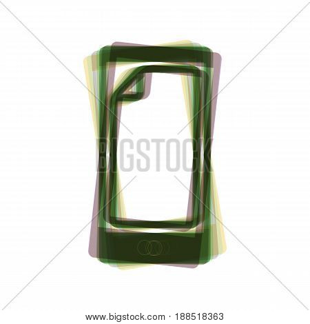 Protective sticker on the screen. Vector. Colorful icon shaked with vertical axis at white background. Isolated.