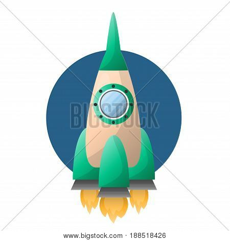 Rocket spaceship on start up with burning flame form engine and cosmonaut porthole window. Vector isolated flat icon of cartoon spacecraft or space ship launch