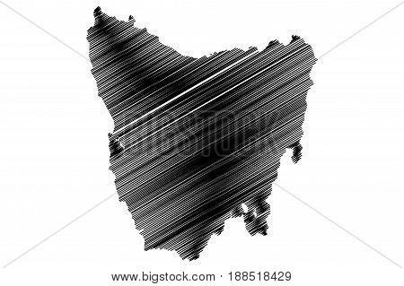 Tasmania map vector illustration , scribble sketch Tasmania