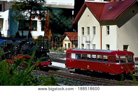 Miniature train station. Train station. The model of the train station in propotion 1 : 25.
