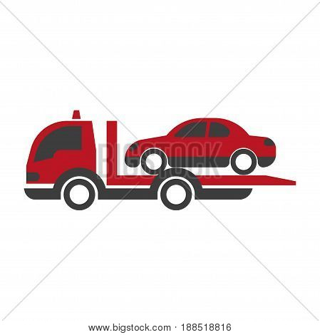 Car transportation truck or evacuation loader vehicle. Vector flat isolated icon of automobile roadside tow evacuator or shipping lorry for logistics or delivery shipment design