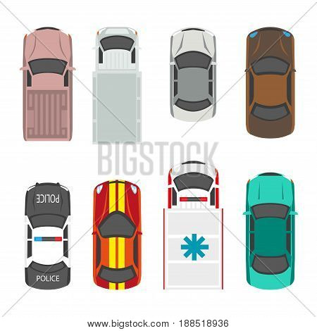 Passenger and municipal service transport vehicles roof or top view. Vector flat isolated icons of police, ambulance or fire engine, pickup van and sport automobile or lorry truck