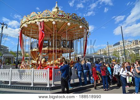 Moscow, Russia - may 06.2017. Childrens carousel in the Revolution Square