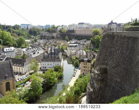 Stunning view of the lower city along Alzette river and Le Chemin de la Corniche of the upper city, Luxembourg