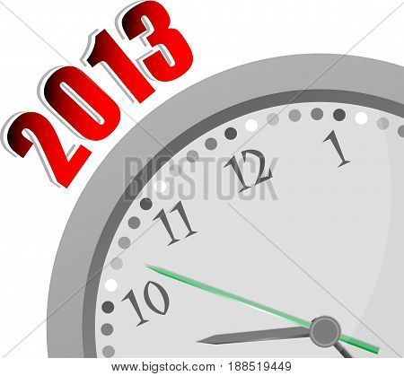 Text 2013. Time Concept . Color Word And Modern Clock On White