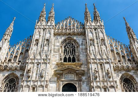 The famous Milan Cathedral (Duomo di Milano) in Milan, Italy. Milan Duomo is the largest church in Italy and the fifth largest in the world.