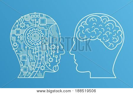 Outline stroke Machinery head of cyborg and the human one with the brain. Line style vector illustration