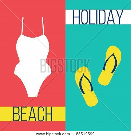 White fused swimsuit on a pink background and yellow flip flops on a blue background Poster template in flat design