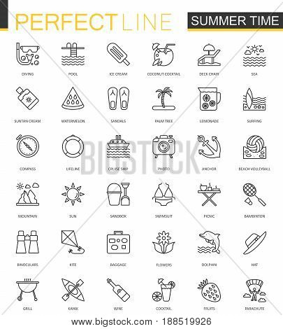 Summer time thin line web icons set. Vacation travel outline stroke icons design