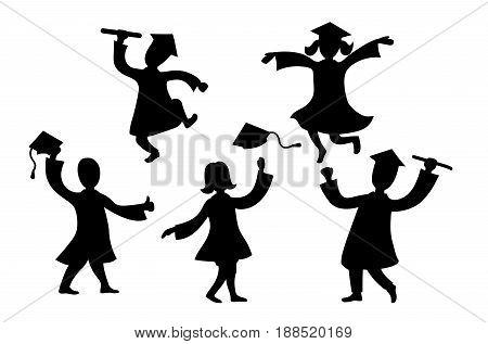 Graduates cartoon characters black dancing and jumping silhouettes