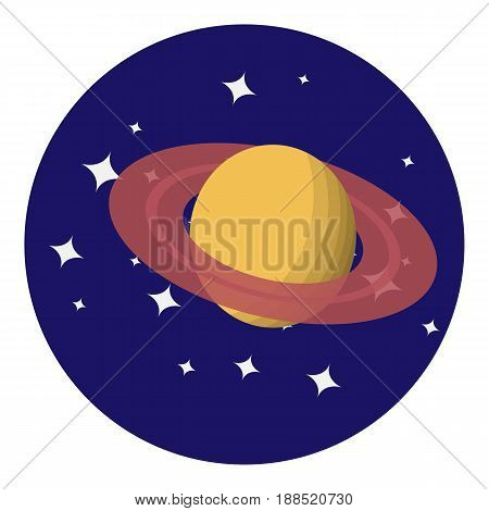 Vector image of Saturn on the background of space
