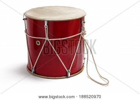 Georgian traditional musical instrument, drum red colored named doli close-up isolated on white