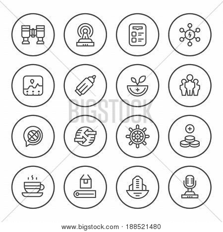 Set round line icons of business isolated on white. Vector illustration