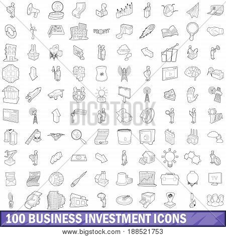 100 business investment icons set in outline style for any design vector illustration