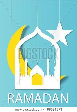 Ramadan kareem background. Paper cut vector illustration.
