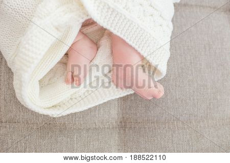 New born. Baby feet covered with a blanket