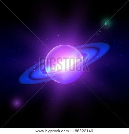 Bright blue planet against the background of the sky. Cosmic body before the explosion. Realistic Vector illustration