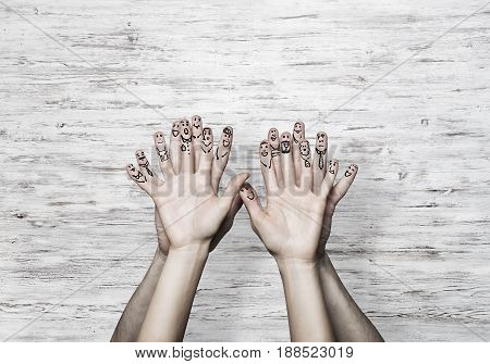 Hands of man and woman representing love and happiness