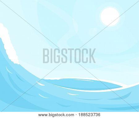Sea waves background. Ocean view and blue sky. Sunny cloudless day on ocean shore. Waves foam and deep water.
