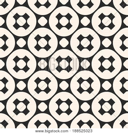 Vector seamless pattern, stylish monochrome geometric texture with smooth perforated crosses outline circular grid. Modern abstract repeat background for prints, decor, covers, textile, digital, web.