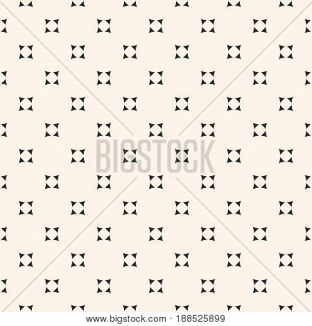 Vector minimalist seamless pattern, abstract monochrome geometric texture, small geometrical shapes rounded triangles background. Modern stylish seamless pattern. Design element for prints, decor, package, fabric.