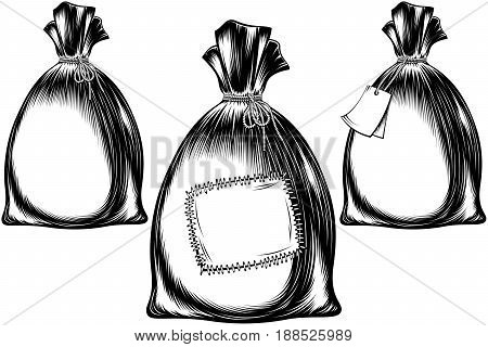 Filled sack tied with a rope. A full bag with a note with a patch. Vector set of icons in ink monochrome vintage hand drawing style for print or tattoo