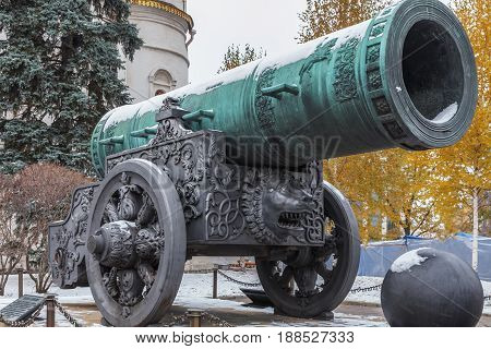 MOSCOW, RUSSIA - NOVEMBER 02, 2016: Tsar Cannon (King Cannon) in Moscow Kremlin. It is  monument of Russian artillery casting art, cast in bronze in 1586