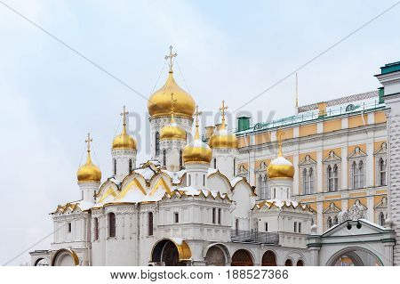 MOSCOW, RUSSIA - NOVEMBER 02, 2016: Cathedral of the Annunciation is a Russian Orthodox church, located in the Moscow Kremlin