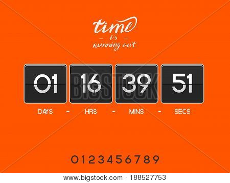 Bright modern electronic countdown timer for the website. Square section. Days, hours, minutes, seconds. Orange background. Vector drawing