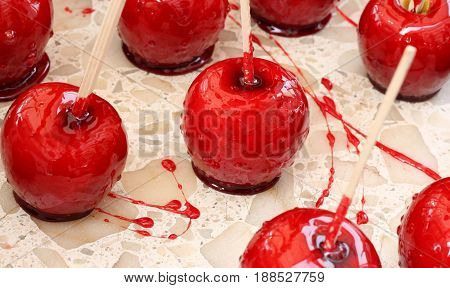 Red Apple Covered With Caramelized Sugar