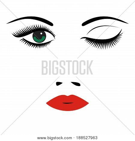 Beautiful women's portrait. Long lashes red lips eyes nose. Vector illustration.