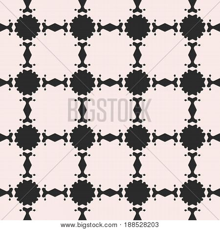 Vector monochrome seamless texture, abstract floral black & white pattern. Square illustration with flourish circular figures seamless background. Contrast repeat pattern. Design element for prints, decor, fabric, web.