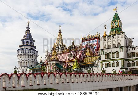 Moscow Russia - May 20 2017: The architecture of the Izmailovo Kremlin in Moscow amazes tourists from all over the world.