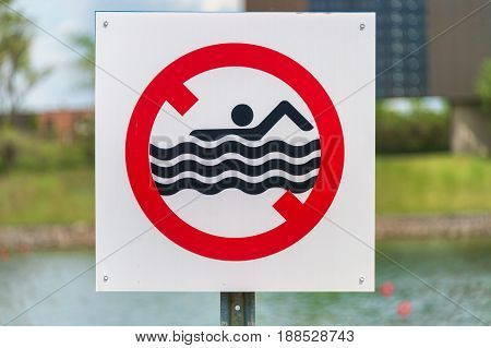 Danger - no swimming Sign in Canada