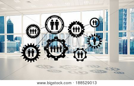 Cogwheels and gears mechanism as social communication concept in office interior. 3D rendering