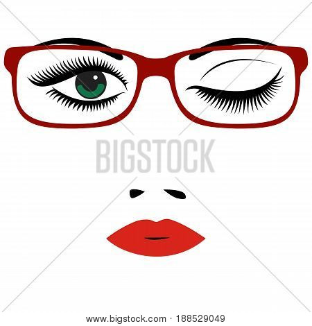 Beautiful women's portrait with glasses. Red lips eyes nose. Vector illustration.