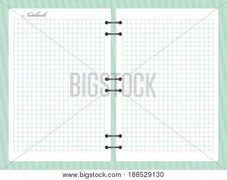 Open squared notepad notebook with spiral. Vector