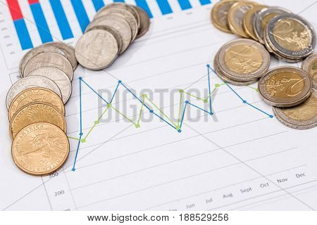 Euro Cent And Dollar Cent On Business Chart And Pen.